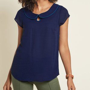 Modcloth Just as Imagined Short Sleeve Top Navy